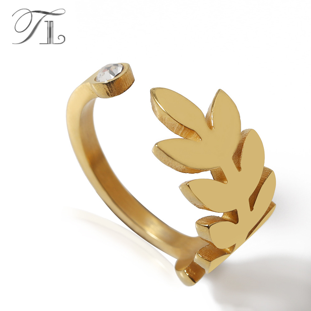 TL Cocktail Party Crystal Rings Stainless Steel Leaf Hollow Engagement Ring Fashion New Brand Bijoux for Women Wedding Jewelry chic faux crystal leaf hollow out bracelet for women