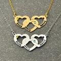 Персонализированные Любовь Кулон Сердце Ожерелье с Камень, Настроены Имя Трехместный Сердце Ожерелье, Подарок для Женщин