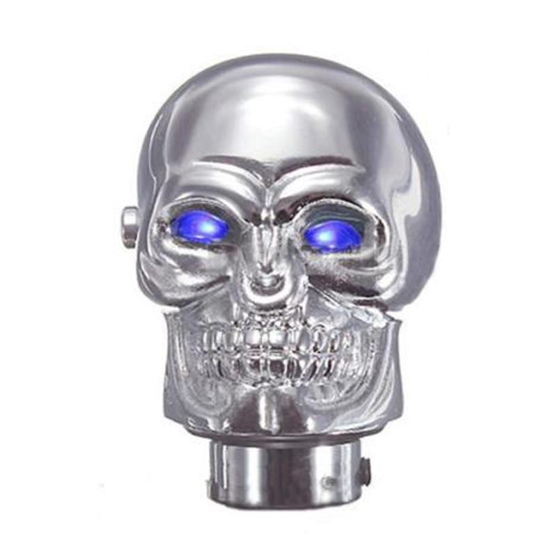 Universal Chrome Skull Car Manual <font><b>Gear</b></font> Stick <font><b>Shift</b></font> Shifter <font><b>Knob</b></font> Lever Blue <font><b>LED</b></font>