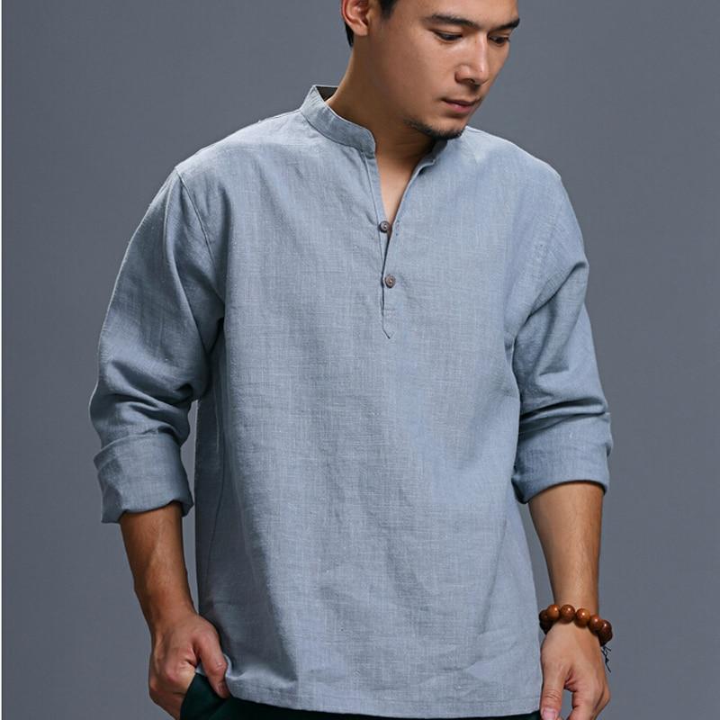 가을 패션 리넨 플러스 사이즈 캐주얼 남성의 전체 일치 레저 셔츠 긴 소매 느슨한 남성 셔츠 성격 리넨 셔츠