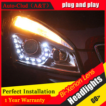Auto Clud 2008 2013 qashqai headlight car styling qashqai head lamp12 high brightness LED DRL parking