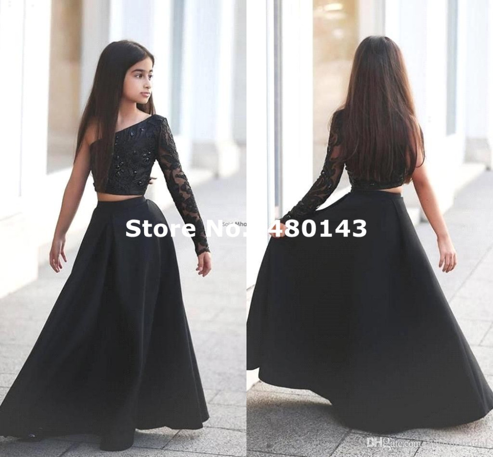New Black One Shoulder Long Sleeve Kids Prom Dresses Satin Two ...