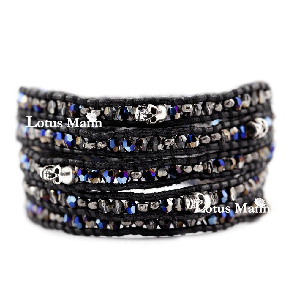 Здесь продается  Particle blue ultra-small 5 skull black leather bracelet  Ювелирные изделия и часы