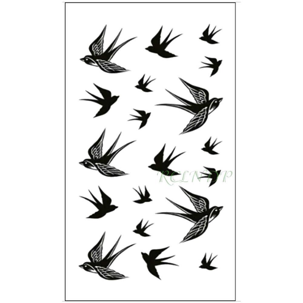 7c362ee87 Waterproof Temporary Tattoo Sticker Swallow fly bird Flash Tatoo Fake Tatto  arm leg Wrist Foot hand