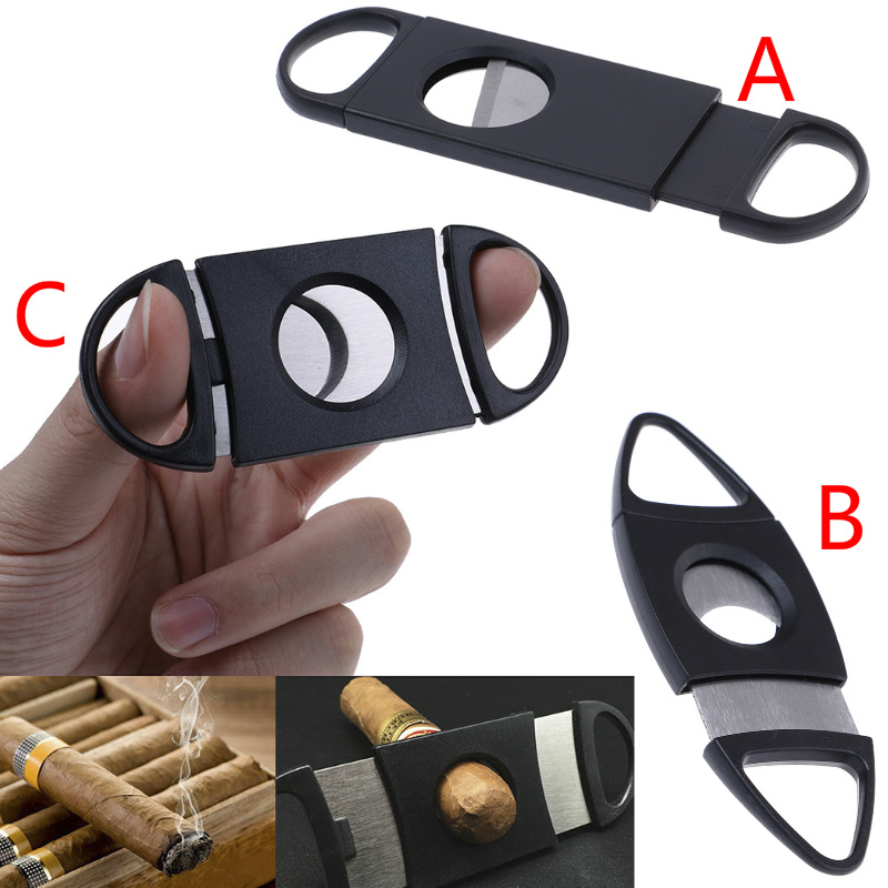 Cigar Cutter Brand New Sliver Plated Double Blades Cigar Cutter Pocket Gadgets Stainless Steel Cigars Scissors