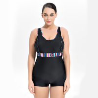 Womens Sport One Piece Swimwear Boxer Shorts Solid Color Swimming Suit Large Size 8XL Beach Wear Bodysuit Conservative Swimsuit