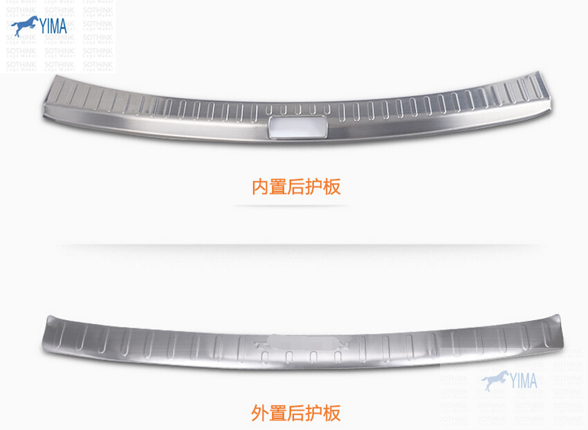 Stainless Steel ! Inner + Outer Rear Bumper Protector Sill Cover Plate Molding Trim 2 Pcs For VW Volkswagen Touran 2011-2015 more fun for kia sorento l 2016 2017 rear bumper inner outer door sill protector plate 2 pcs set