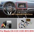 Автомобиля Камера Заднего Вида Подключения Оригинальный Экран Для Mazda CX5 CX-5 CX 5 2015 2016 2017 Обратная Резервная Камера RCA Адаптер разъем