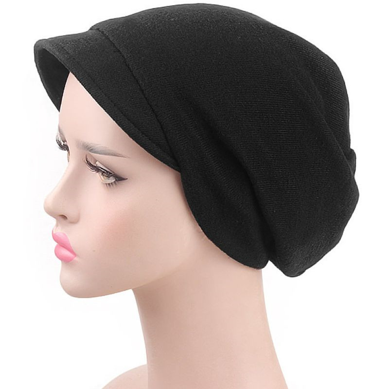 Womens Windproof   Beanie   Cap With Brim Female   Skullies     Beanies   Turban Chemo Hat Beret Winter Hair Accessories Solid Color