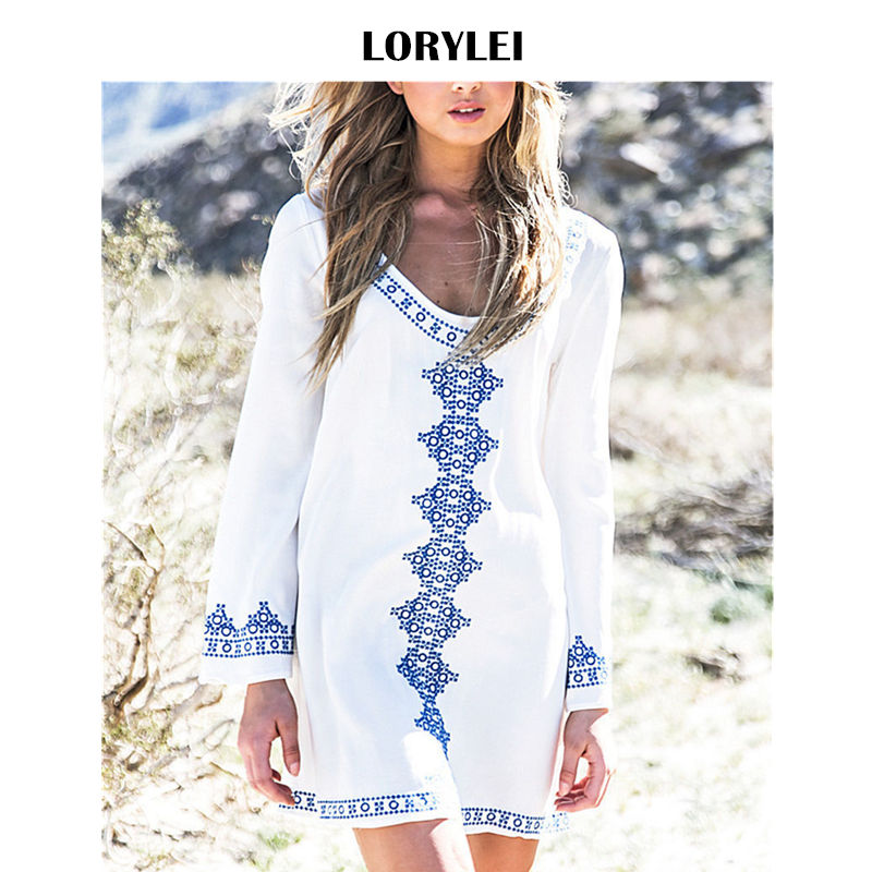 US $12.66 40% OFF|Indie Folk Embroidered Above Knee Cotton Tunic Women Mini  Dress Plus Size Beachwear Summer Beach Dress Sarong plage pareo Q71-in ...