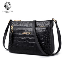 Laorentou Female Cowhide Leather Crossbody Bag Lady Vintage Aligator High Qualit