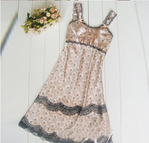 New Arrival Sexy lingerie Brace Female Imtated Silk Lace Sleepwear Women Nighty Gown Robes ...