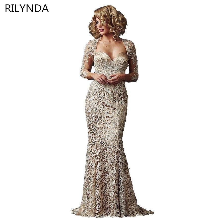 Ibu Pakaian Pengantin Mermaid Sweetheart 3/4 Lengan Khaki Lace Brides - Pakaian majlis perkahwinan