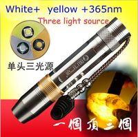 365nm 5W UltraViolet Torch Flashlight Detector for Amber/Jade/Diamond/Mineral/Gemstones LED UV+Yellow+White Penlight Lamp