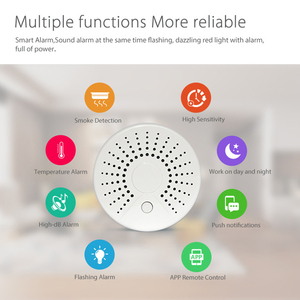 Image 4 - Smart Wifi Fire Smoke Temperature Sensor Wireless Smoke Temperature Detector Automation Home Security Alarm System Smart life