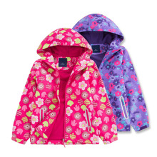 Children Polar Fleece Jacket Girl Sport Kids Coat Double-deck Hoodie Waterproof Windbreakers Girls Jackets 3-12Y Autumn Winter cheap Outerwear Coats picemice Full Polyester 01-6270j Hooded Fits true to size take your normal size Fashion Floral Canvas
