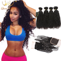 7A Malaysian Curly Virgin Hair With Closure Curly Weave Bundles human hair 4 bundles malaysian kinky curly hair with closure