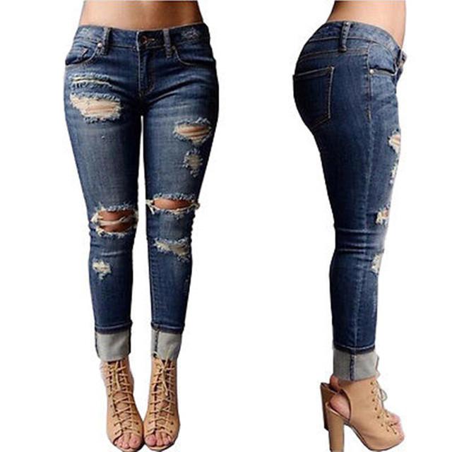 2016 Nuevo algodón rasgado agujeros jeans mujer Delgada mirada harem novios fit mujeres highwaist pantalones de mezclilla vaqueros femeninos ruedan para arriba dobladillo