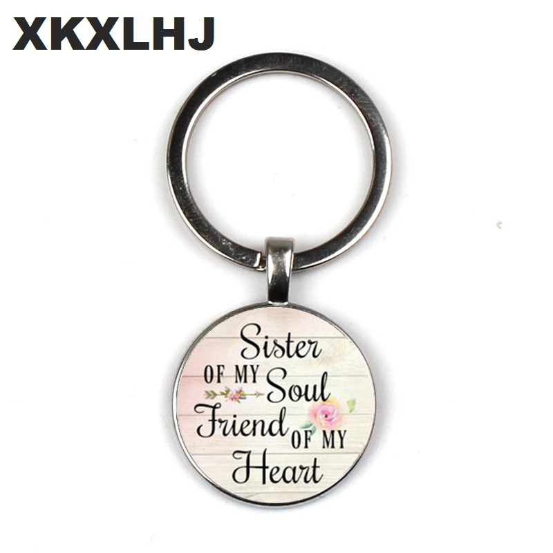 XKXLHJ 2019 SISTER my soul FRIEND my heart keychain pendant inspirational charm key chain gift to best friend in Key Chains from Jewelry Accessories