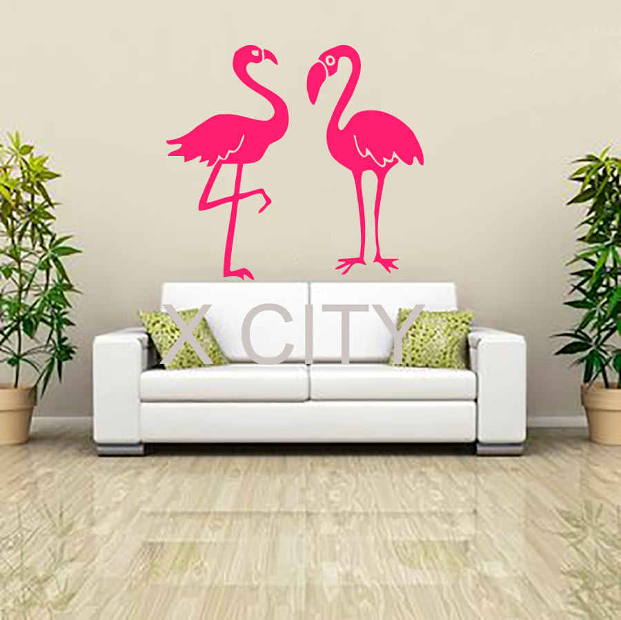 Pink flamingo wall art sticker vinyl decal die cut window for Door mural stickers