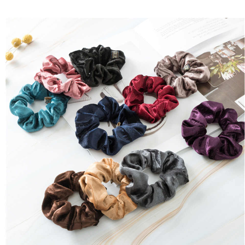 1Pc Women Elastic Hair Ring Winter Soft Velvet Rubber Bands Hair Bands Girls Sweet Solid Color Hair Accessories Ponytail Holder