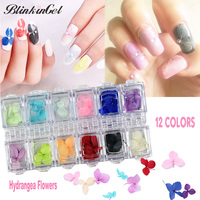 BlinkinGel 36pcs Hydrangea Dry Flower Nail Art Flower 3D DIY Decoration Design For Nail Immortal Flower