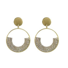 Korean Crystal Drop Earrings For Women Punk Gold Color Round Dangle Earrings Fashion statement Jewelry Party Gifts wholesale цена и фото