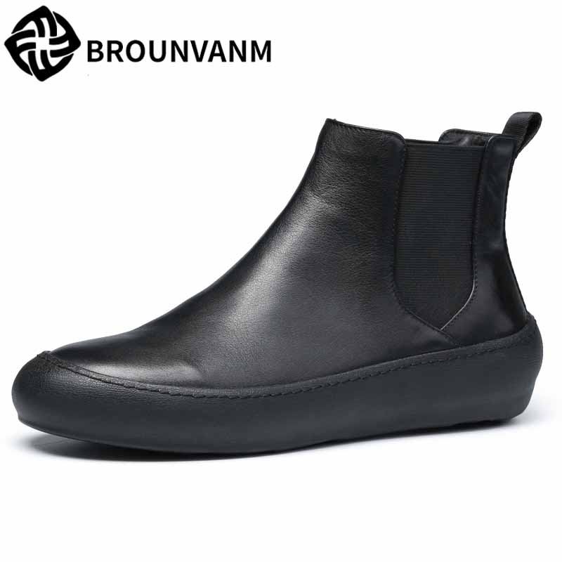 men's casual high top shoes British retro Chelsea boots men autumn winter all-match cowhide breathable fashion Martin boots male