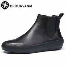 men's casual high top shoes British retro Chelsea boots men autumn winter all-match cowhide breathable fashion Riding boots male цены онлайн