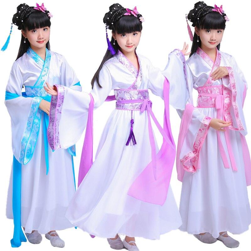 Chinese Traditionele Hanfu Jurk Kind Kleding Volksdans Meisjes Oude Chinese Opera Tang-dynastie Han Ming Kostuum Kinderen Kid