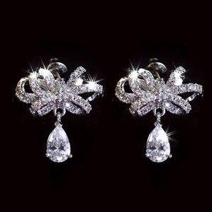 Новые 925 серебряные модные ювелирные изделия аутентичные Австрия каплевидный галстук-бабочка кристалл от Swarovskis свадебные серьги для женщи...