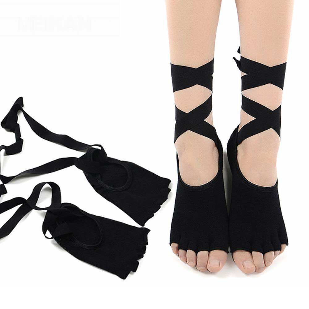 100% katoenen yogasokken en -handschoenen set dames zwart roze - Sportkleding en accessoires - Foto 4