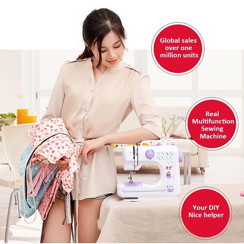 Бытовая многофункциональная швейная машина 505A электрическая настольная DIY одежда 12 стежков обратный детский швейный станок светодиодный светильник