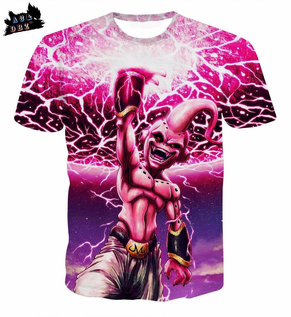 AC&DBZ new 3d t-shirt cartoon character Dragon Ball Super Demon Boo 3d t-shirt summer mens fashion T shirt ...