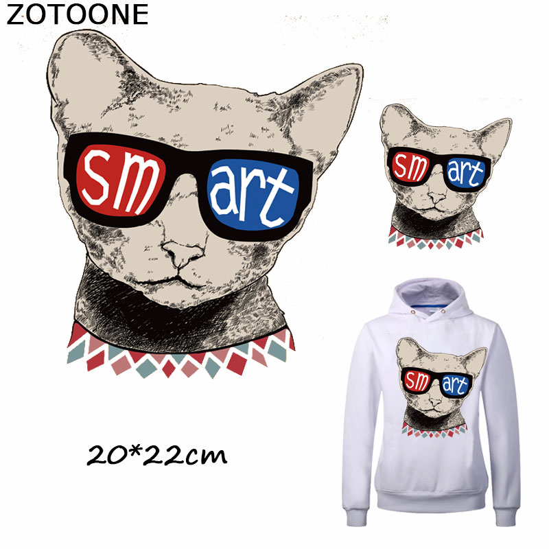 ZOTOONE Cute Glasses Smart Cat Patches for Clothing Iron on Transfer Stickers DIY Stripes Custom Patch Applique T-shirt