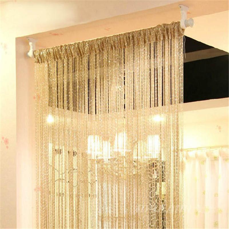 13 Colors Vogue Curtain Silver Silk Tassel String 200cm x 100cm Door Window Living Room Divider Curtain Valance Y1