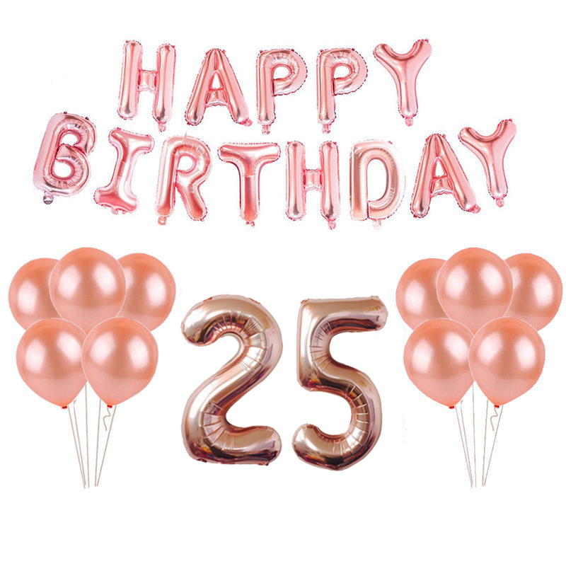 18th 25th 30th 35th 40th 50th 60th 70th 80th 90th Rose Gold Birthday Party Supplies Happy