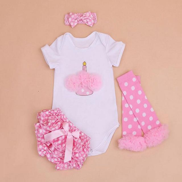 bf1483852 4PCs per Set Newborn Cake Baby Girls Clothes Birthday Dress Pink Polka Dots  Satin Shorts Headband