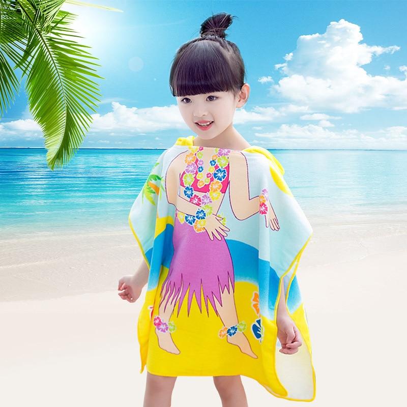 Fast Drying Microfiber Hooded Poncho Bath Beach Towel for Kids Girls 60x120cm (Mermaid / Dancing Girl) Swimming Pool Towels