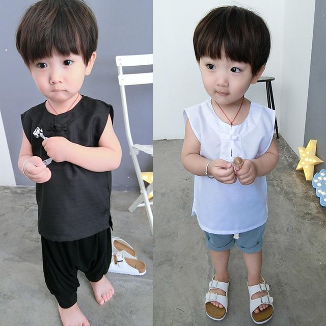 1046 Bébé Dété Chemisier Sans Manches Chemise Pour Les Garçons Filles Enfants Noir Blanc Pur Coton Lin Gilets Enfants Mince Chinois Style