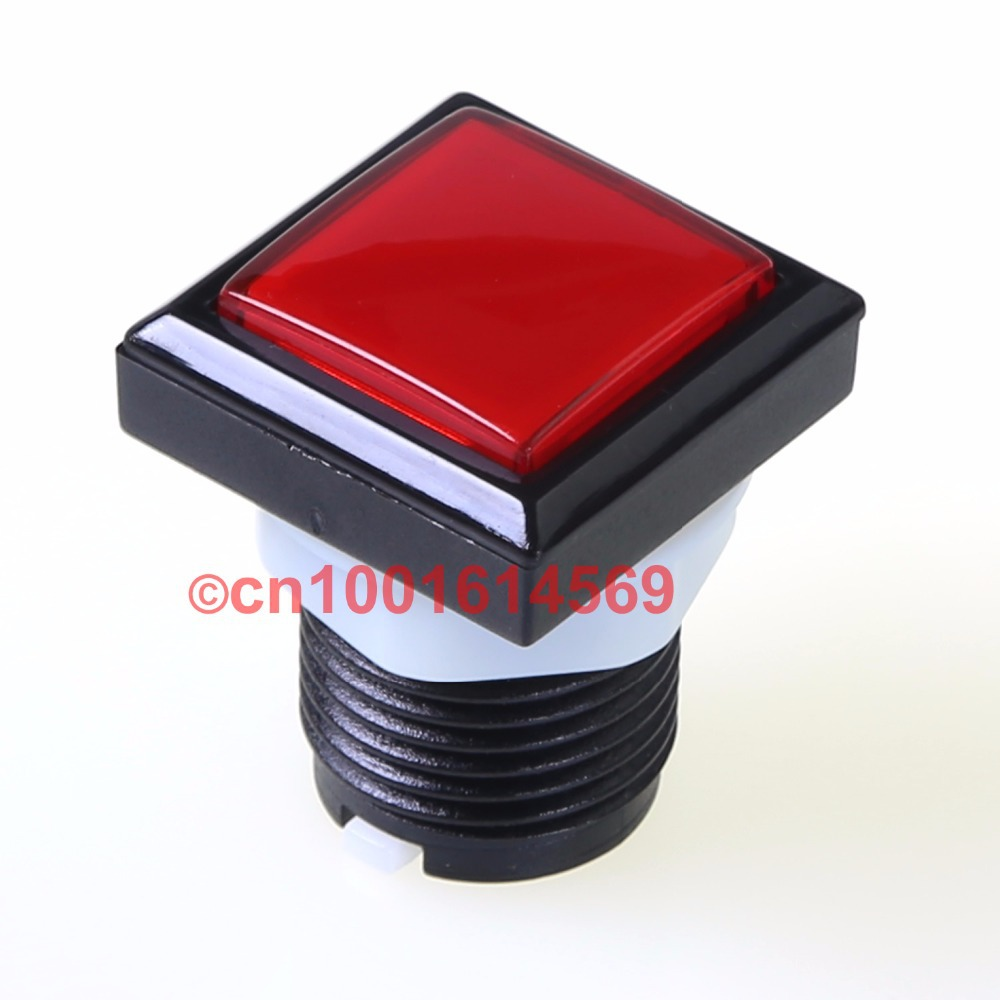 New 10pcs/lot 30mm High Quality Reyann Square Arcade LED illuminate Push Button For Arcade Raspberry Pi 1 2 3 Project DIY - Red