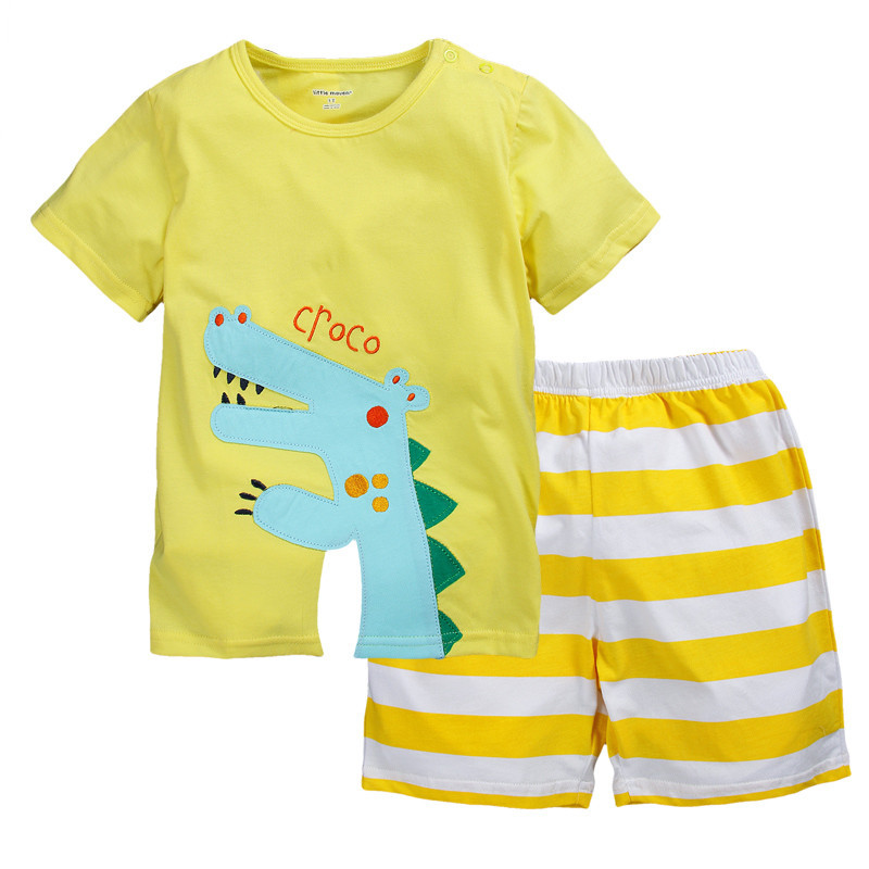Croco Boys Clothes Suit Embroidery Children T-Shirts Stripe Pants 1-6years Baby Clothing Bebe Ropa Tops Shorts