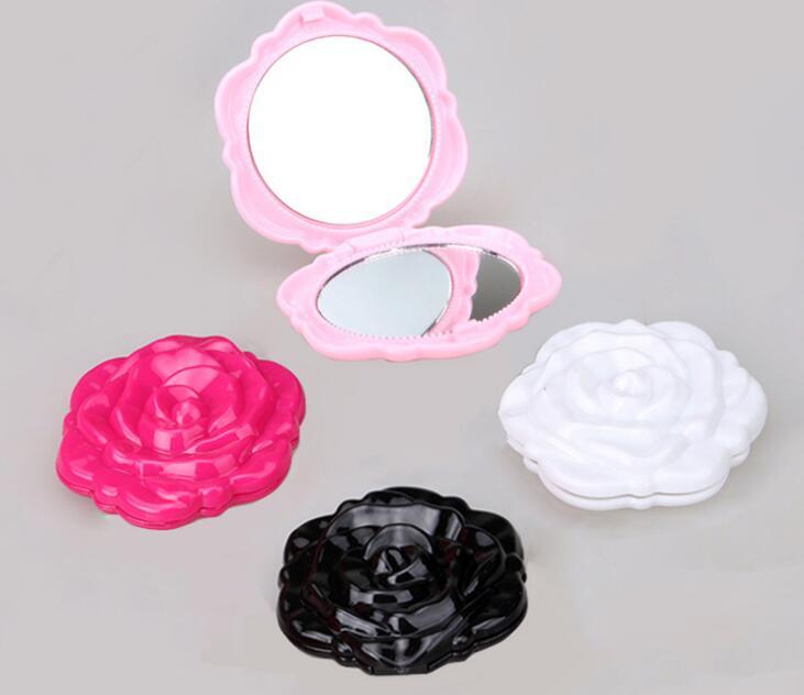 1 Stücke Mini Vintage Retro Rose Blume Form 3d Stereo Double Sided Kosmetik Make-up Taschenspiegel Kunden Zuerst