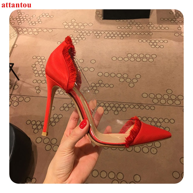 Luxury Red Suede Leather Fringe Women High Heels PVC Pointed Toe Sexy Pumps Thin Heel Slip-on Female Wedding Party Dress Shoes high quality suede wedding party dress shoes women pointed toe stiletto brand pumps bow fringe embellished high brands