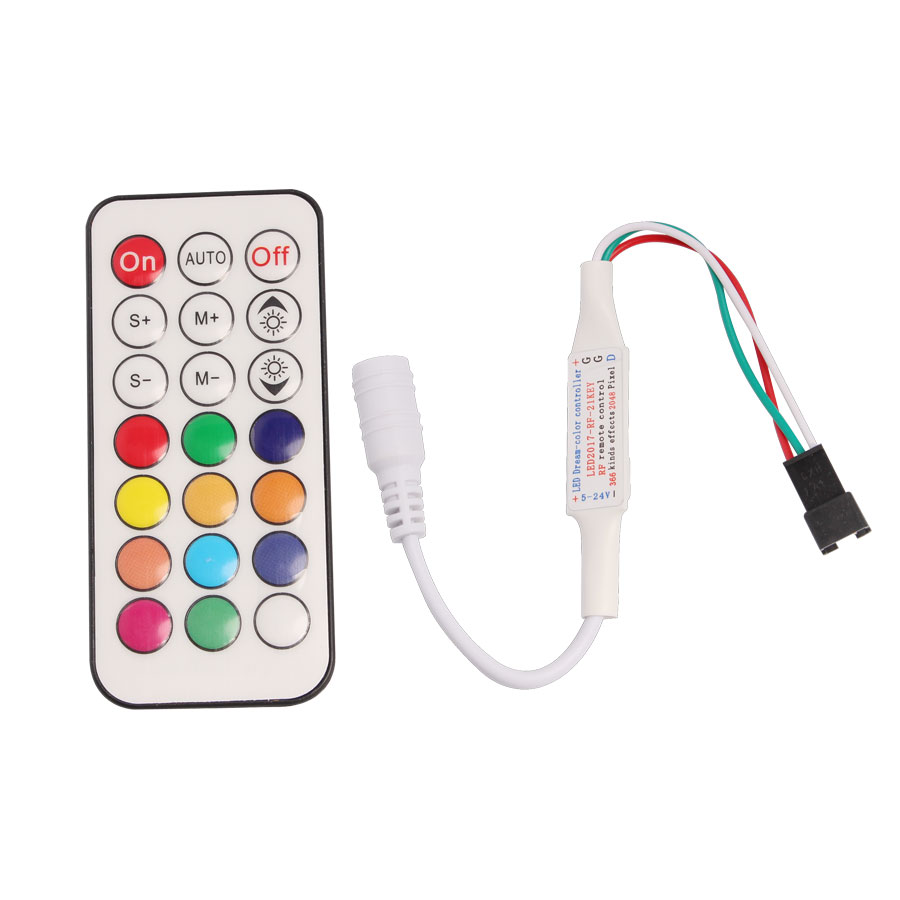 Controlador rgb LED 21key RF remoto mini 5v 12v 24v milight dimmer WS2812b striplight stap 2835 5050 magic home