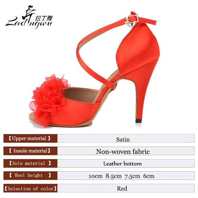 Satin Red Soft Bottom Latin Dance Shoes 1