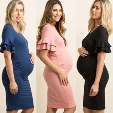 Pregnant Women Off-shoulder Dress Ruffled Casual Maternity Dress Mother Maternity Clothes