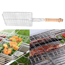 2016  Free Shipping   Useful BBQ Barbecue Fish Grilling Basket Roast Meat Fish Vegetable BBQ Tool with Wooden Handle