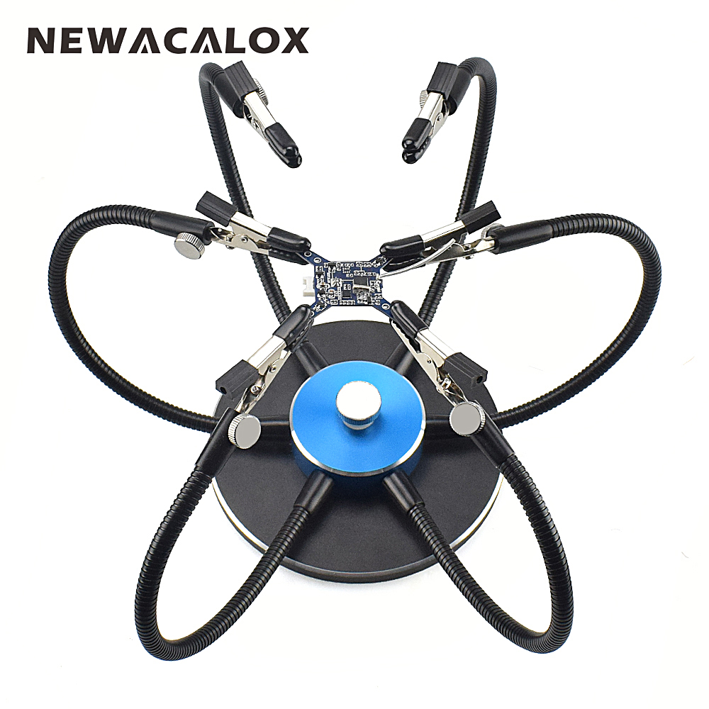 NEWACALOX Third Pana Hand Aluminum Base Soldering Station Holder with 6pcs Helping Hands 360 Degree Swiveling