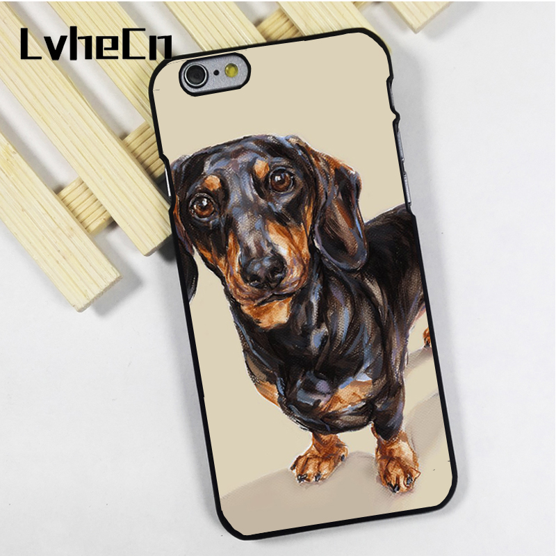 LvheCn phone case cover fit for iPhone 4 4s 5 5s 5c SE 6 6s 7 8 plus X ipod touch 4 5 6 Daschund Sausage Dog Art Animal